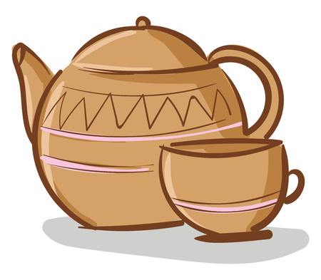 Beige teapot with cup vector illustration on white background