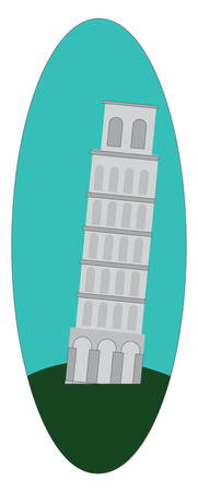 Beautiful landmark of tower of Pisa vector or color illustration 向量圖像