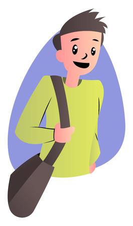 Cute cartoon boy in green sweater vector illustartion on white background 일러스트