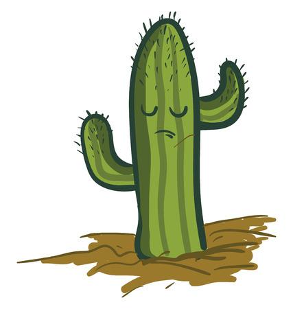 Trauriger Saguaro-Kaktus-Pflanzenvektor oder Farbillustration