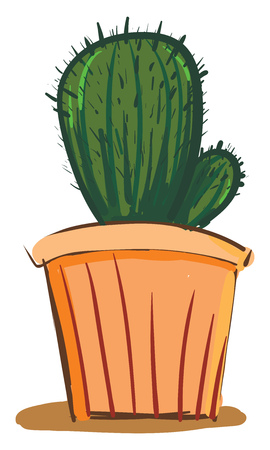 Cactus in earthen pot vector or color illustration