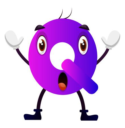 Purple letter Q vector illustration on white background