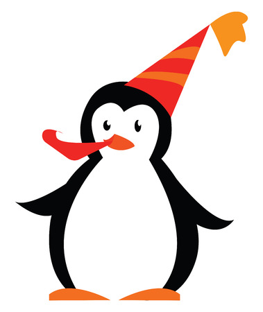 Penguin in birthday party vector or color illustration