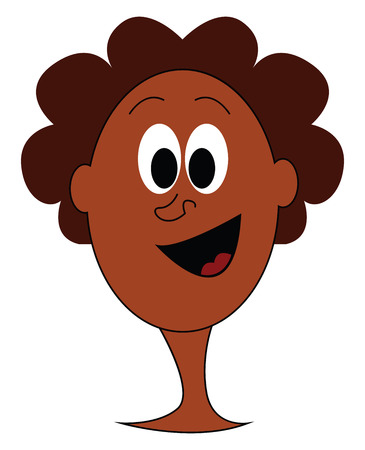 Cartoon curly afro-american vector illustration on white background