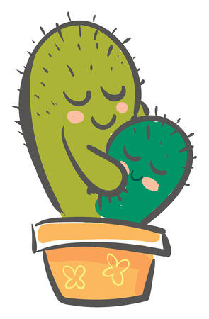Hugging prickly cactus vector or color illustration Ilustrace