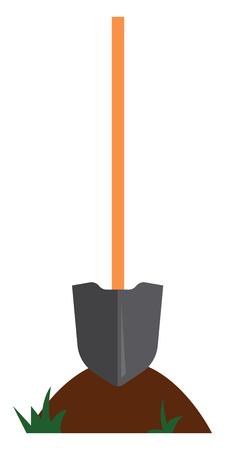 Simple cartoon of a shovel vector illustration on white background
