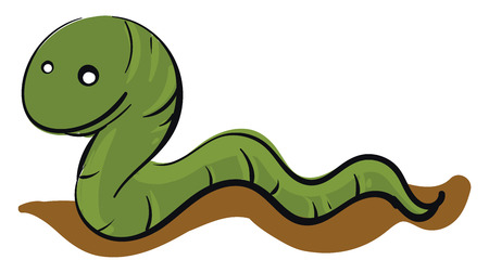 Green worm crawling on the ground  illustration basic RGB vector on white background Banque d'images - 121019654