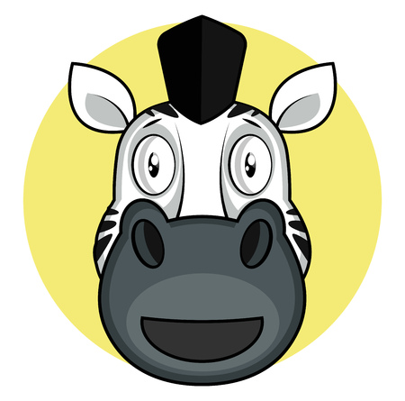 Happy cartoon zebra vector illustartion on white background