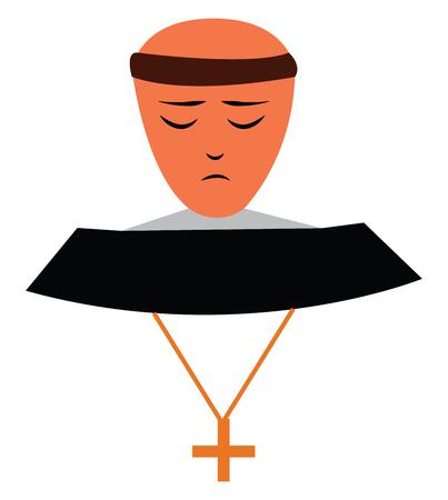 A Christian monk vector or color illustration Illustration