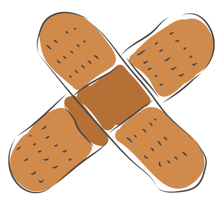 Two adhesive plasters vector illustration on white background Ilustração