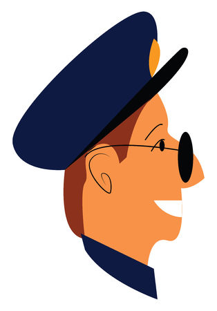 A smiling policeman vector or color illustration