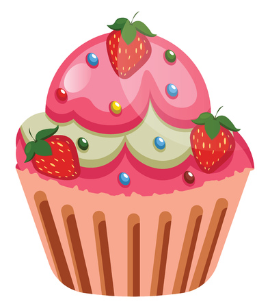 rut cupcake with strawberries as a roasting illustration vector on white background