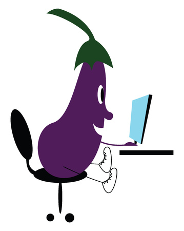 Tech shay eggplant vector or color illustration Ilustração