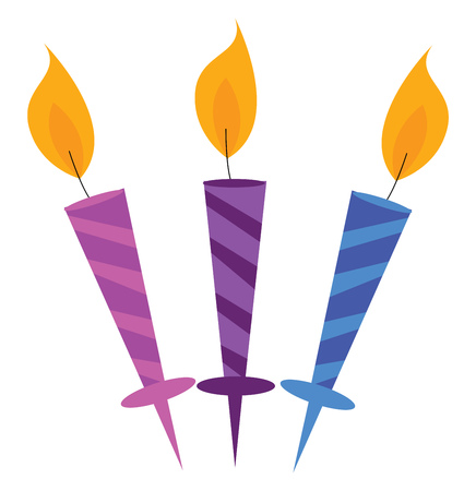 Three beautiful party candles vector or color illustration