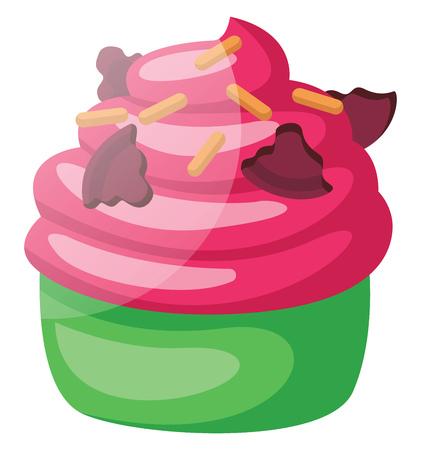 Pink frosted green velvet cupcake illustration vector on white background