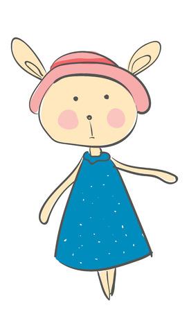 Hase im blauen Kleid und in der rosafarbenen Kappenvektor- oder Farbillustration