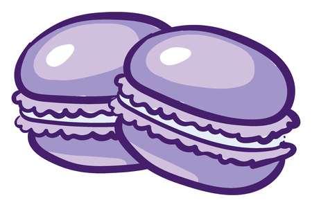Purple macaroons vector illustration on white background