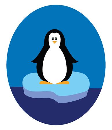 Penguin standing on iceberg illustration vector on white background Illustration