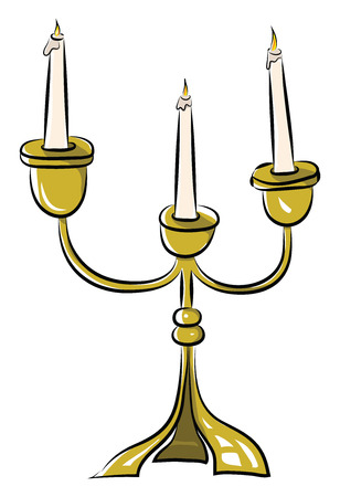 Three arm candle stand vector or color illustration