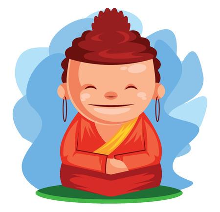Buddha wishes you Happy Chinese New Year vector illustration Ilustração