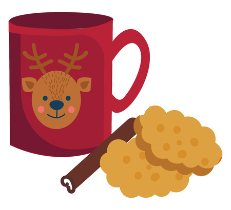 Cup of hot chocolate with cinamon stick and cookies illustration vector on white background Ilustração
