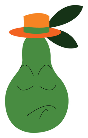 A green gush with orange hat vector or color illustration