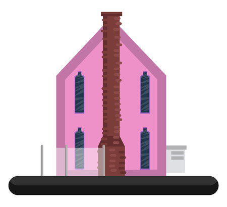 Cartoon pink building vector illustration on white background