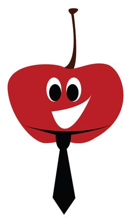 Happy cartoon tomato with black tie vector illustartion on white background Illustration