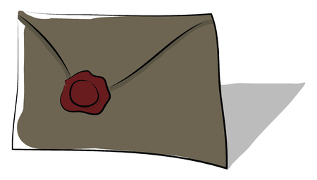 Envelope with wax seal vector or color illustration