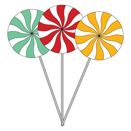 A blue a red and a yellow lollipop vector illustration on white background