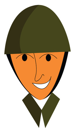 A happy soldier's face vector or color illustration
