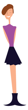 Young girl in trendy party dress vector or color illustration