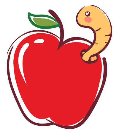 Apple worm going out from fruit  illustration basic RGB vector on white background