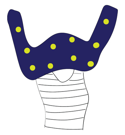 Abstract cartoon of a girl stuck in a blue sweater with yellow dots vector illustration on white background