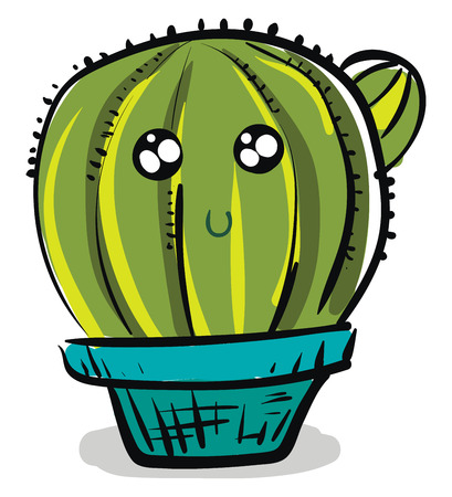 Painting of a cactus plant vector or color illustration