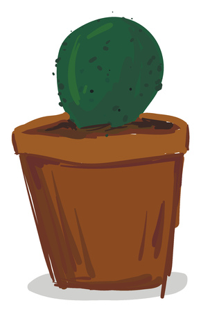 Small potted cactus plant vector or color illustration