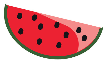 Slice of watermelon vector or color illustration