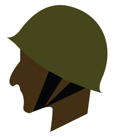 Side face of a soldier vector or color illustration