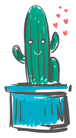 Linear shape cactus in love vector or color illustration Illustration