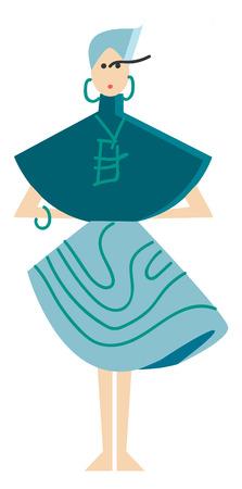 A model dressed in blue for ramp walk vector or color illustration Illustration
