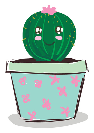 Happy cactus with pink flower vector or color illustration Ilustrace