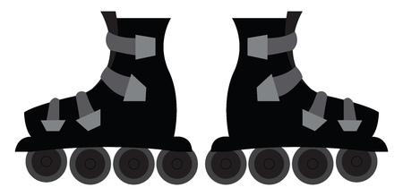 Black roller skates  vector illustration on white background