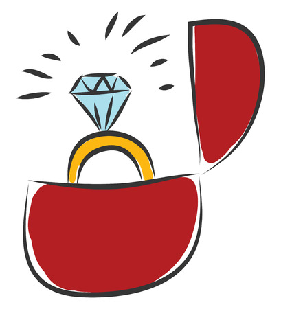 Simple  vector illustration on white background of a big diamond ring in red velvet box