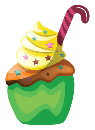 Green velvet cupcake with candy cane as a decoration illustration vector on white background  イラスト・ベクター素材