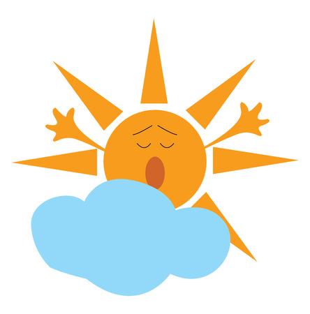 Cartoon of a yawning yellow sun and a blue cloud vector illustration on white background Vektoros illusztráció