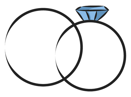 Simple  vector illustration on white background of two rings with gem