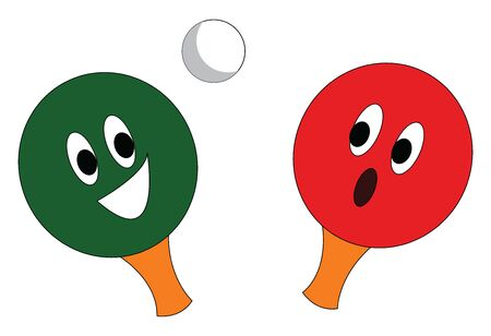 A red and a green table tennis rackets  and a white  ball vector illustration on white background