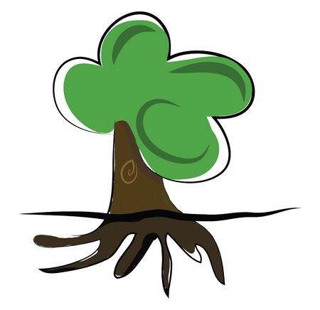 A big tree with strong underground roof vector or color illustration