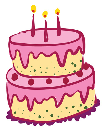 Yellow layer cake with pink fondant vector or color illustration
