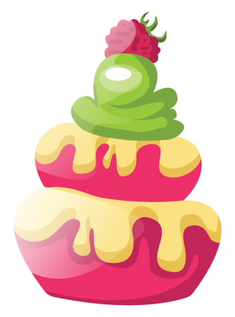 Raspberry cupcakes with green icing illustration vector on white background